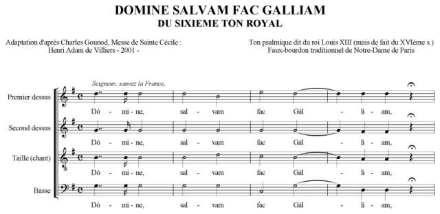 Domine salvam fac Galliam sur le VIème ton royal