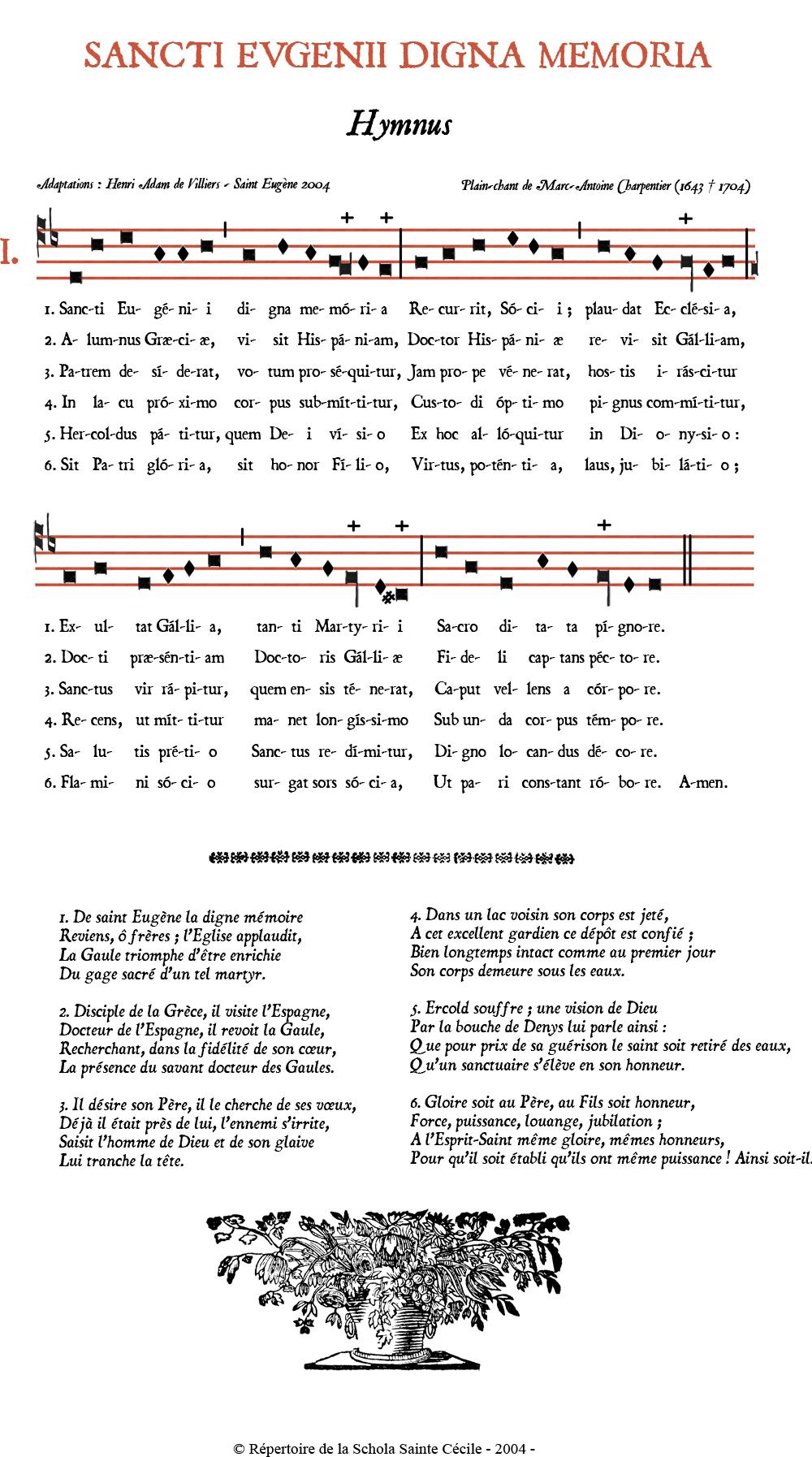 Sancti Eugenii digna memoria - Hymne de saint Eugène