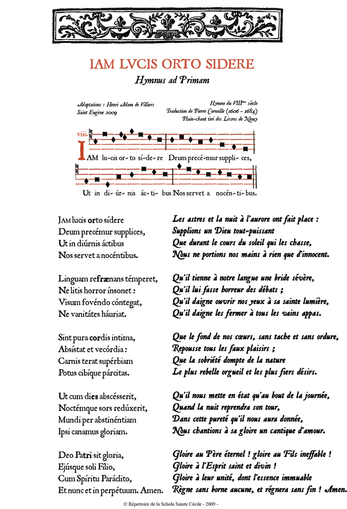 Jam lucis orto sidere en plain-chant de Nancy