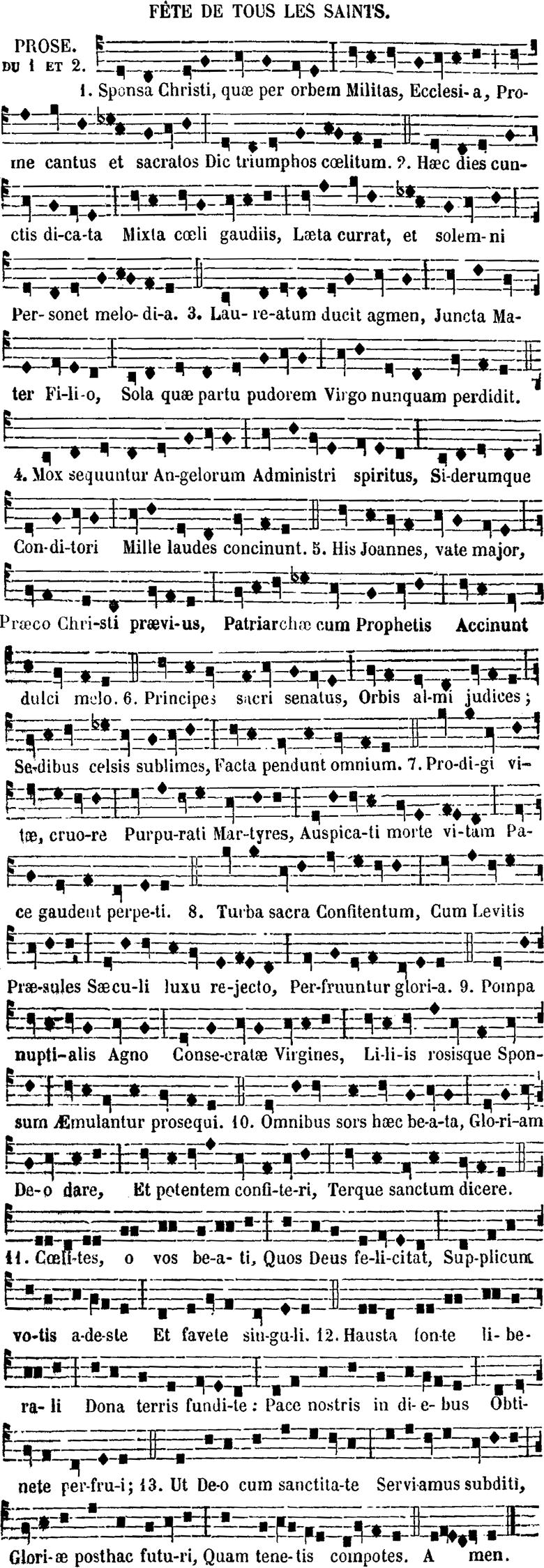 Prose de la Toussaint - Sponsa Christi quæ per orbem