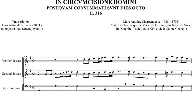 Marc-Antoine Charpentier - In Circumcisione Domini (H. 316)