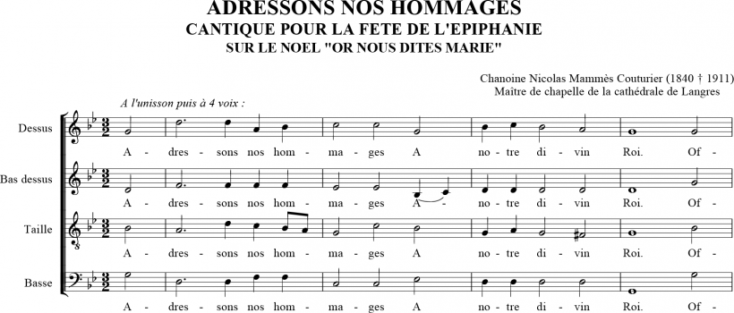 Cantique pour l'Epiphanie : Adressons nos hommages