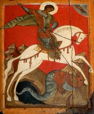 Saint Georges le Mégalomartyr - icône de l'église de Maniokhin, école de Novgorod, datant du XIVème siècle. Conservée au Musée Russe de Saint-Pétersbourg
