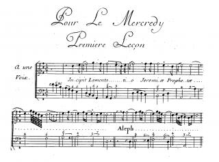 Commencement de la première lamentation de François Couperin pour les Ténèbres du premier jour (celles du Jeudi Saint, chantées au soir du Mercredi Saint).