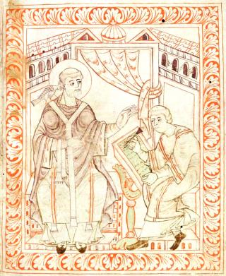 Le Pape saint Grégoire le Grand, divinement inspiré par le Saint-Esprit, dicte le texte de l'Antiphonaire. Antiphonaire de Hartker, vers l'an 1000