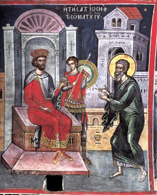 Saint Joseph d'Arimathie vient demander à Pilate de lui donner le corps de Notre Seigneur après sa mort en Croix
