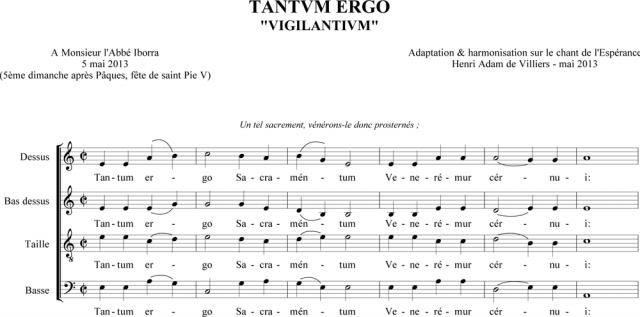 Tantum ergo à 4 voix sur le Chant de l'Espérance