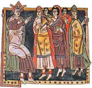 Miniature mozarabe représentant un concile de Tolède