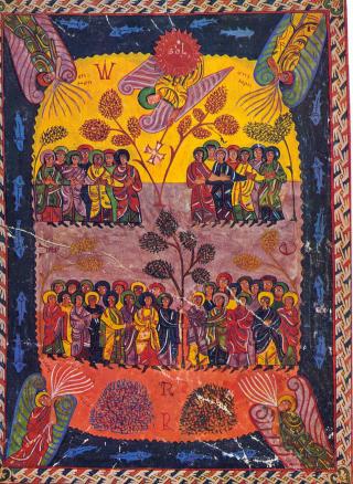 Miniature mozarabe illustrant Apocalypse 7, 2-3. Beato de San Miguel de La Escalada, Pierpont Morgan Library, New York, Ms. 644, f.° 115v.