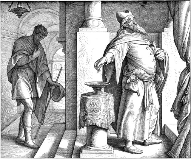 Le Pharisien & le Publicain - gravure du XIXème siècle