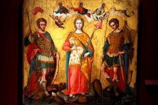 Corfou - icône des saints Serge, Bacchus & Justine peinte par Michel Damaskenos après la bataille de Lépante de 1571