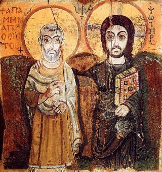 Le Christ et saint Mennas - icône copte du VIème siècle du monastère de Bawit en Moyenne Egypte (l'une des plus anciennes icône existante) - collection du Musée du Louvre