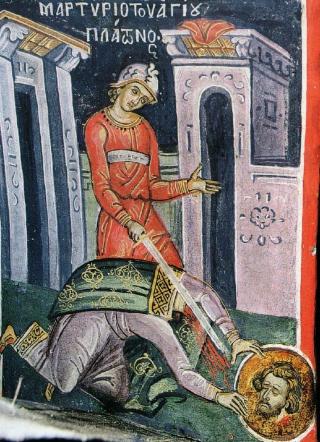 Le martyre de saint Platon d'Ancyre - Fresque du monastère de Dyonisiou (Mont Athos), 1547