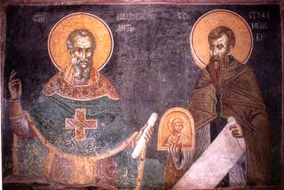 Saint Théodore Studite et saint Etienne le Nouveau - fresque du XIVème siècle du monastère serbe de Gratchnitsa au Kosovo