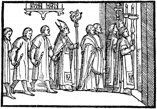 04 - L'évêque expulse les pénitents publics hors de l'église - Pontifical de 1561