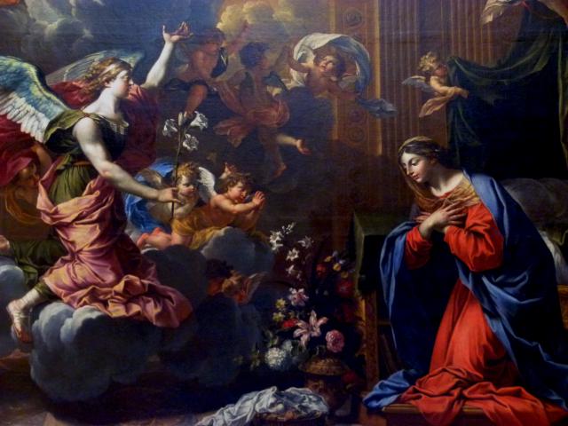 L'annonciation par Charles Poërson  (1609 † 1667) - Carton de tapisserie pour la Tenture de la vie de la Vierge - May de Notre-Dame - Musée d'Arras