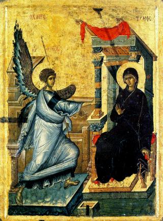 Annonciation de la Très-Sainte Mère de Dieu - icône byzantine du XIVème siècle