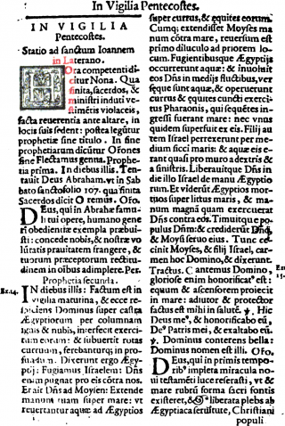 La Vigile de la Pentecôte dans le Missale Romanum de saint Pie V - Edition de 1596 de Venise