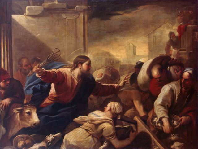 Lucas Giordano - Le christ chasse les marchands du Temple (vers 1675) - Musée de l'Hermitage - St-Petersbourg