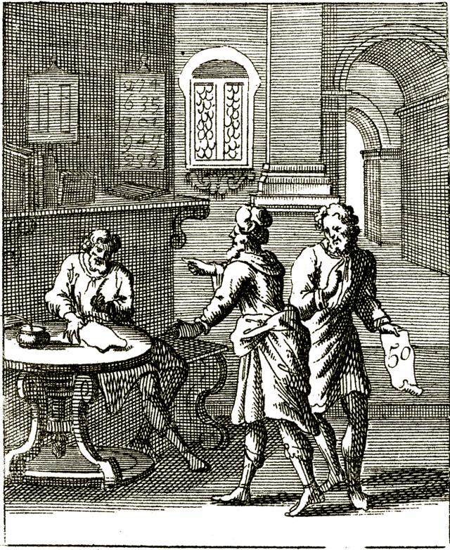 Parabole de l'économe infidèle - gravure de John Sturt (1658–1730).