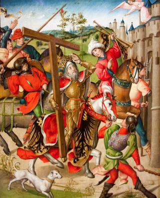 L'Empereur Héraclius restitue la Vraie Croix à Jérusalem - école flamande
