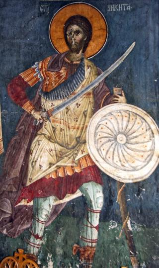 Saint Nicétas le Goth (Nikita) - fresque de l'église du Monastère de Gracanica (Serbie) du XIVème siècle