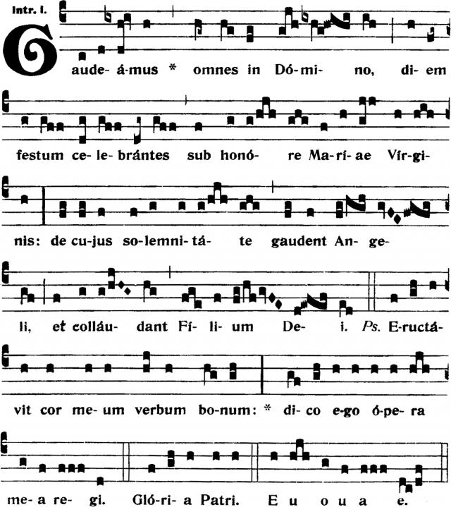 Introït - Gaudeamus omnes in Domino - ton 1
