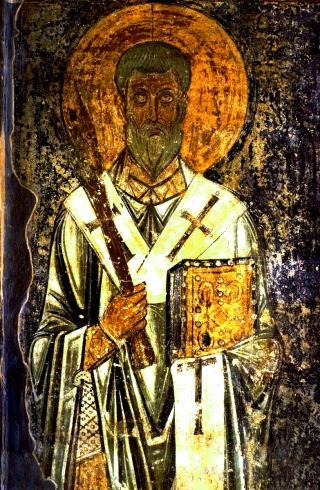 Saint hiéromartyr Phocas - fresque de la cathédrale Sainte-Sophie de Kiev du XIème siècle