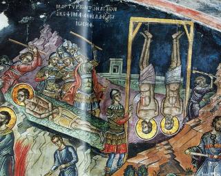 Martyre des saints Akepsimas, évêque, Joseph, prêtre et Aïthala, diacre - Athos - Monastère de Dyonisou - fresque de Tzortzi (Zorzis) Fuca - 1547