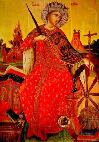 La sainte mégalomartyre Catherine d'Alexandrie - relique moscovite de la sainte