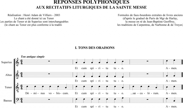 Réponses polyphoniques aux récitatifs liturgiques de la sainte messe - chant au Tenor