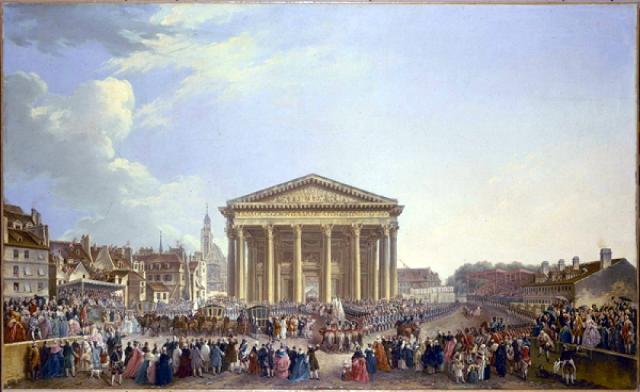 Cérémonie de la pose de la première pierre de la nouvelle basilique de Sainte-Geneviève devant Louis XV le 6 septembre 1764.