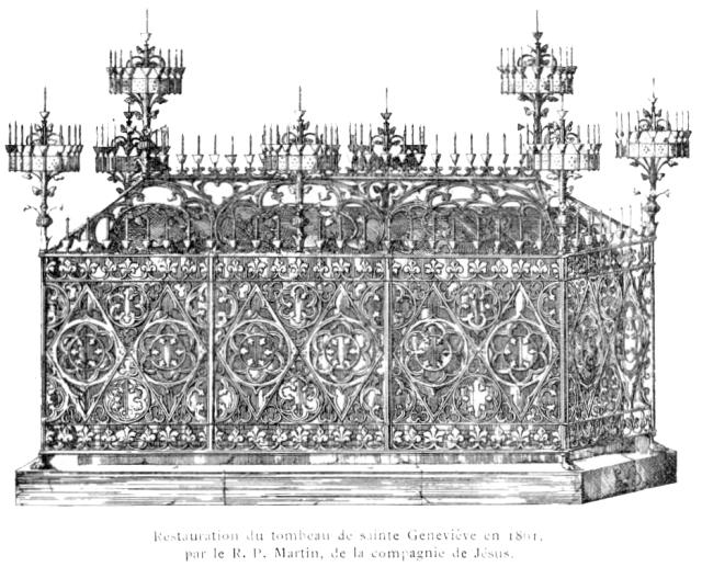 Châsse du sacorphage antique de sainte Geneviève. A Saint-Etienne-du-Mont.