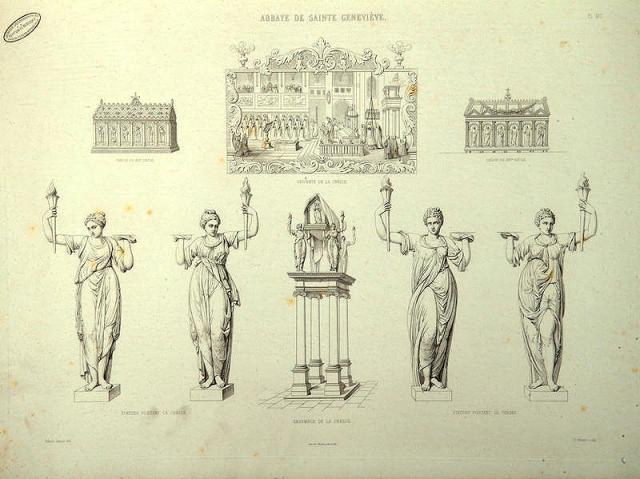 Disposition de 1614 - la châsse est élevée sur un socle porté par 4 colonnes et tenue par 4 cariatides sur ordre de Benjamin de Brichanteau, 34ème abbé de Sainte-Geneviève.