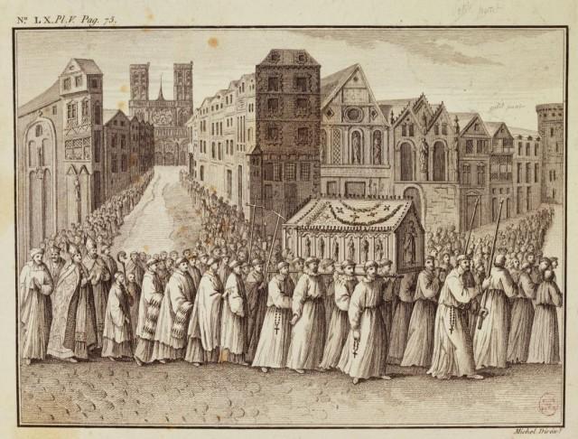 Procession de la châsse de sainte Geneviève organisée en 1536 pour faire cesser les pluies diluviennes - retour de la procession après la messe à Notre-Dame de Paris.