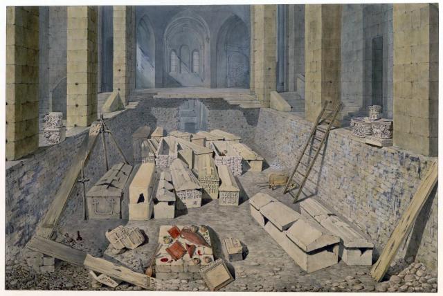 Vue générale des fouilles exécutées en 1807 dans la crypte de l'abbaye Sainte-Geneviève.