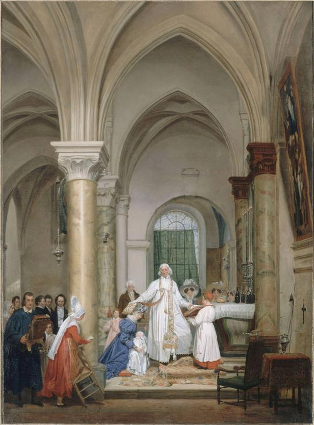 Louis-Nicolas Lemasle - Relevailles de la duchesse de Berry tenant le futur Henri V.