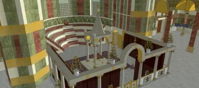 Reconstitution du sanctuaire de Sainte-Sophie à Constantinople - vue de dessus - notez la présence du ciborium au dessus de l'autel - le sanctuaire est fermé par les colonnes du templon.
