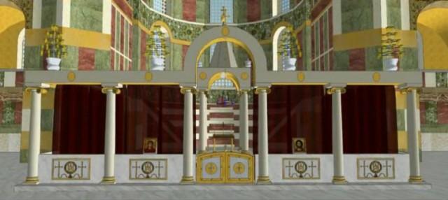 Reconstitution du sanctuaire de Sainte-Sophie à Constantinople - vue de face.