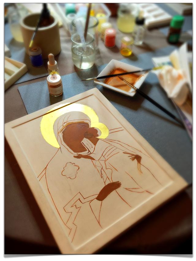 Atelier d'iconographie - Anne Nicolas - à la paroisse catholique russe de Paris 01