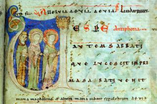 Premières vêpres des Pâques dans l'antiphonaire de Kosterneubourg 1013 datant du XIIème siècle - Antiennes Alleluia et Vespere autem Sabbati