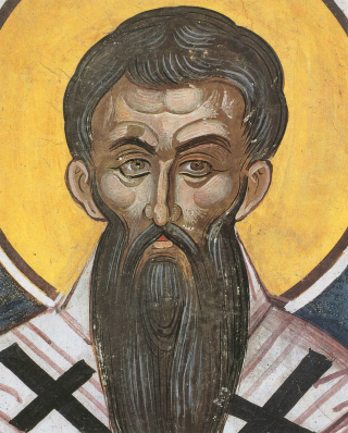 Saint Grégoire Palamas, archevêque de Thessalonique - fresque du Monastère de Dyonisiou par le maître Tsortsi Fuca - XVIème siècle