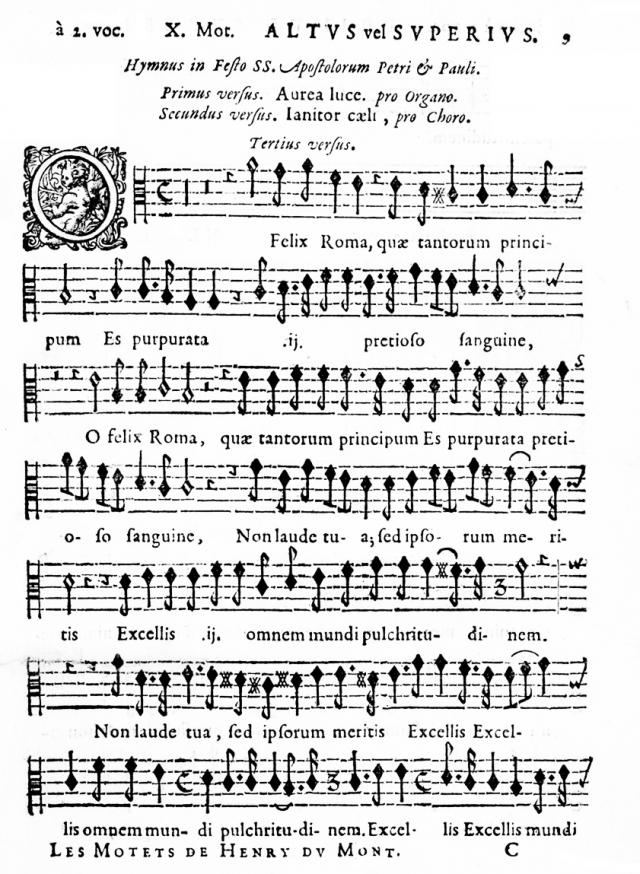 La partie de l'Altus vel Superius dans la réédition de 1662.