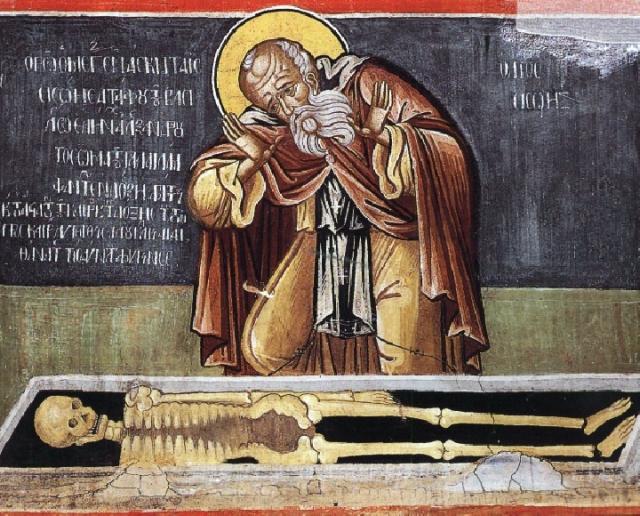 Saint Sisoès le Grand se lamente devant les os d'Alexandre le Grand