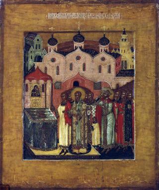 Déposition de la ceinture de la Mère de Dieu dans l'église de Chalcopratée.
