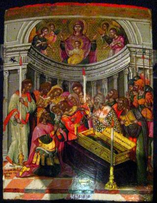 Guérison de l'impératrice Zoé par imposition de la ceinture de la Vierge par le patriarche de Constantinople.