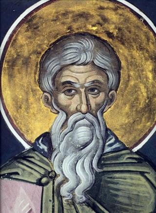 Vénérable Père saint Chariton le Confesseur - fresque du monastère de Dyonisiou - Mont Athos - XVIème siècle