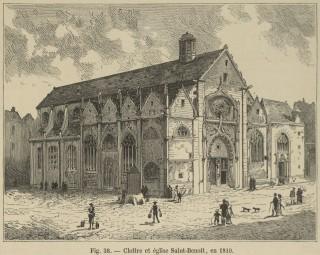 Cloître et église de Saint-Benoît-le-Bétourné en 1810.