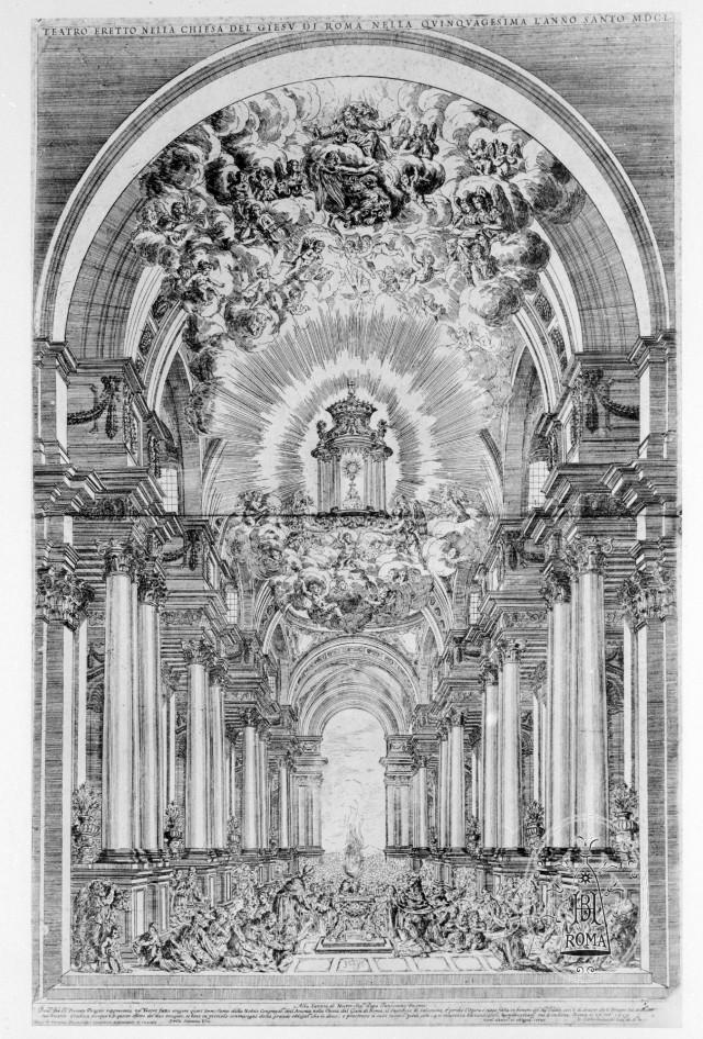 Dessin de la machine des Quarante Heures en 1650 dans l'église jésuite du Gesù à Rome