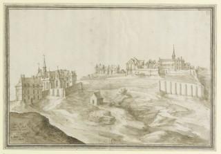 L'Abbaye royale de Montmartre avec les deux abbatiales, la haute et la basse - Etienne Martellange - 1625.